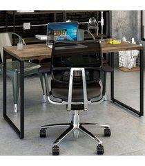 mesa para escritório office kuadra carvalho dark 8397 - compace