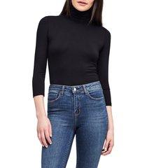 women's l'agence aida turtleneck bodysuit, size small - black