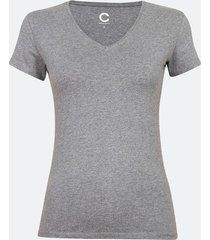 t-shirt i bomull med v-ringning - melerad mörkgrå