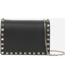 valentino garavani rockstud leather clutch with chain
