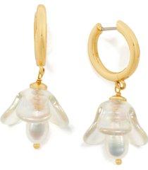 kate spade new york gold-tone freshwater pearl (5x7mm) flower charm hoop earrings