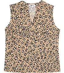 blusa m/s animal print color negro, talla 10