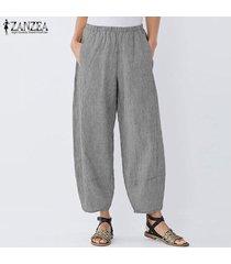 zanzea mujeres anchas piernas harem elástico de la cintura casual pantalones largos holgados pantalones plus -negro