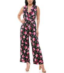 monteau petite floral-print faux-wrap tie-waist jumpsuit