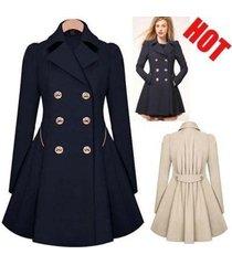 woman's fashion coat winter warm polyester lapel wind coat ladies windbreaker wo