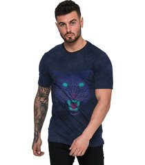 camiseta di nuevo masculina pantera negra olhos azuis azul marinho