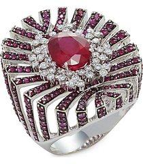 apus 18k white gold, ruby & diamond cocktail ring
