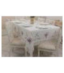 toalha de mesa retangular 6 lugares 180x410cm branco e lilas