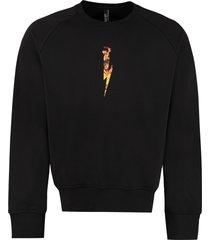 neil barrett cotton crew-neck sweatshirt