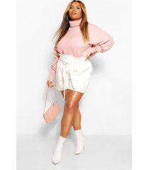 plus oversize sleeve turtle neck knitted sweater, blush