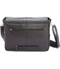 royce new york men's leather laptop messenger bag - black