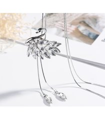 fashion swan crystal lunghe collane in argento oro tessels drop maglione collane per le donne