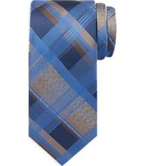 awearness kenneth cole blue & taupe plaid narrow tie