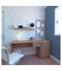 conjunto de mesa com gaveteiro de escritório corp carvalho mel
