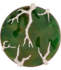 diamond jade titanium 18k yellow gold brooch