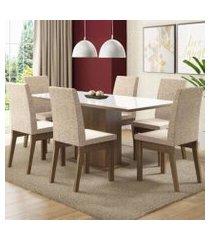 conjunto sala de jantar madesa aurora mesa tampo de vidro com 6 cadeiras rustic/branco/fendi