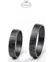 dwie obrączki forest - srebro fakturowane
