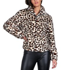 sanctuary animal-print faux-fur jacket