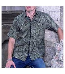 men's cotton batik shirt, 'green coffee' (indonesia)