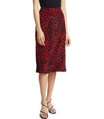 alice + olivia women's sula printed a-line skirt - paprika - size 4