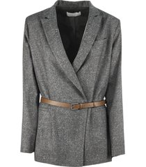 fabiana filippi grey virgin wool and silk blazer
