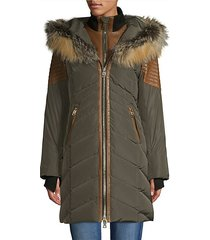 cortina fox fur & leather-trim down coat