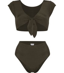 ack marina tie-detail reversible bikini - green
