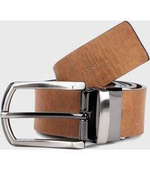 cinturón doble faz café-miel tannino