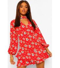 bloemenprint skater jurk met hoge hals en uitsnijding, rood