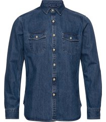 larch ls denim shirt - gots/vegan overhemd casual blauw knowledge cotton apparel