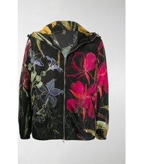 alexander mcqueen floral-print hooded jacket