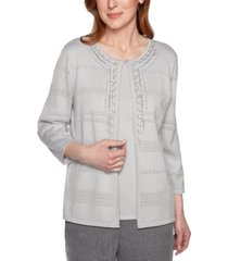 alfred dunner petite boardroom layered-look chain-trim sweater