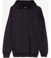 womens a big believer oversized pullover hoodie - black