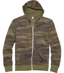 alternative apparel men's green camo modern fit full zip eco jersey hoodie - size: 3x