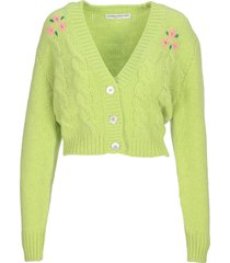 alessandra rich embellished mohair cropped cardigan