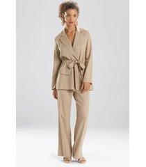 natori solid linen belted jacket, women's, size l natori