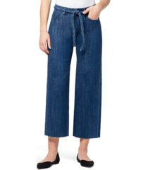 william rast braided-belt raw-hem jeans