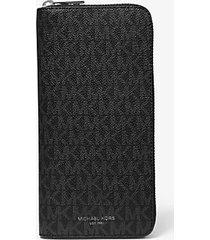 mk portafoglio zip-around greyson con logo - nero (nero) - michael kors