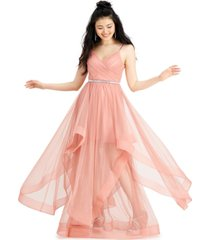 city studios juniors' tulle belted gown, created for macy's