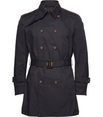 techno cotton - trench b trenchcoat lange jas blauw sand