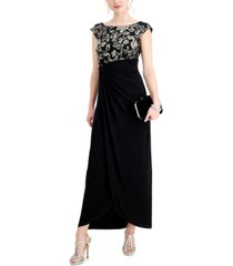 connected petite embroidered gathered-waist gown