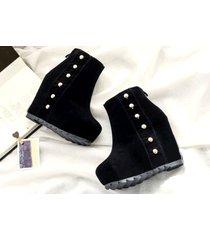 pb162 elegant wedge booties w heels inside,  size 5-8.5, black