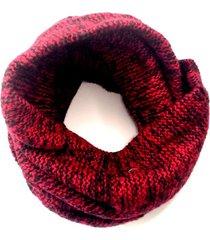 bufanda de lana circular jaspeado rojo niba