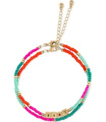 rachel rachel roy gold-tone love charm & multicolor bead two-row bracelet