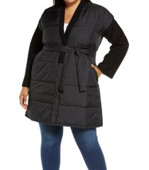 plus size women's eileen fisher recycled nylon & boiled wool coat, size 1x - black