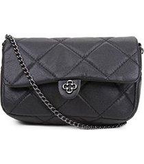 bolsa couro capodarte mini bag matelassê alça corrente feminina