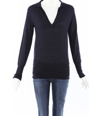 co. 2019 cashmere collared v-neck sweater blue sz: s