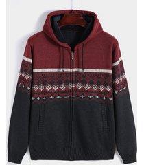 abrigo de punto con capucha de manga larga con cremallera frontal con estampado navideño para hombre