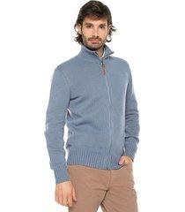 sweater azul medio 9 preppy m/l c/alto abierto cremallera tej medio