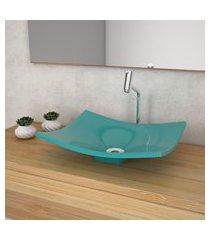 cuba de apoio para banheiro compace folha bari f44w azul turquesa